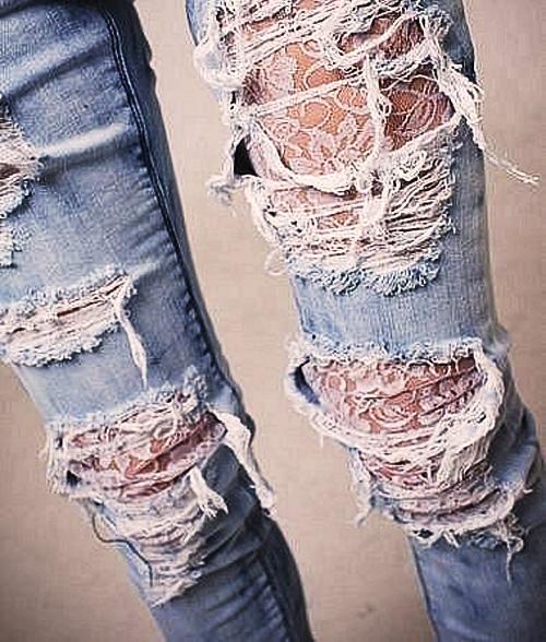 кружевные джинсы