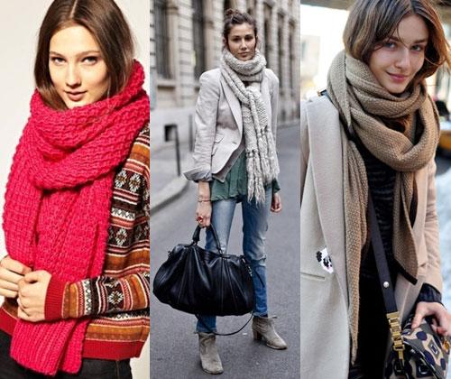 объемные вязаные шарфы 2013-2014