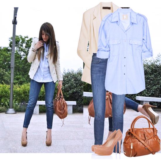 джинсы с рубашкой и пиджаком