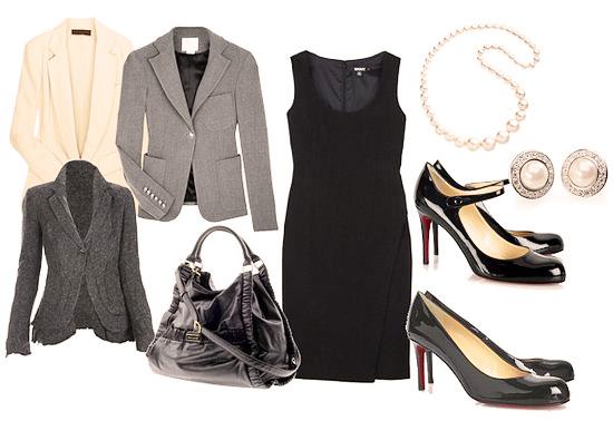 маленькое черное платье с пиджаком