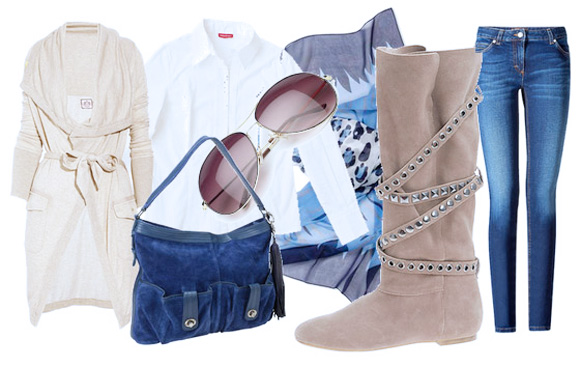 рубашка с кардиганом и джинсами