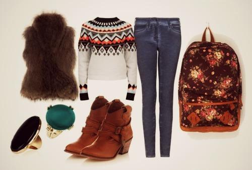 модный образ свитер с орнаментом и джинсами