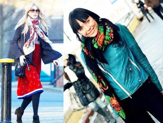 павлопосадские платки с курткой