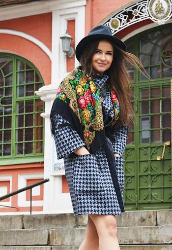 павлопосадский платок с пальто
