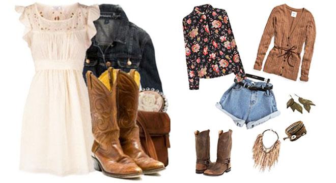 Ковбойские женские сапоги с чем носить