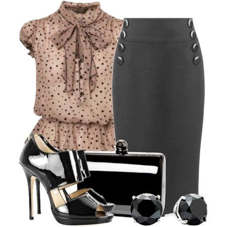 юбка-карандаш с легкой блузой
