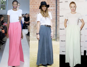 длинная юбка с футболкой