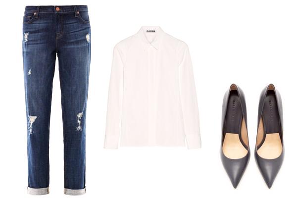 джинсы бойфренды с белой рубашкой