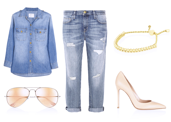 джинсы бойфренды с джинсовой рубашкой