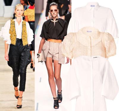 модные блузы с фонариками