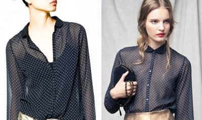 романтичная блуза в горошек