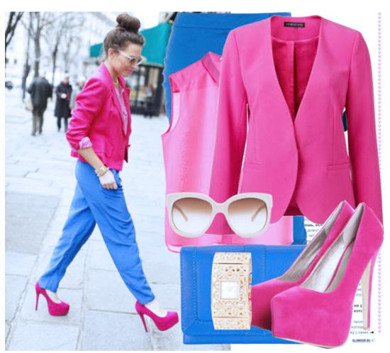 с чем носить пиджак ярко-розовый