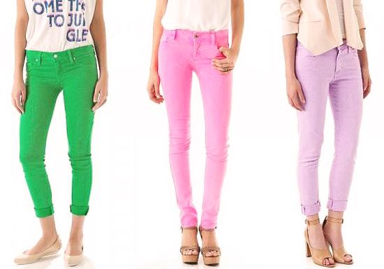 модные джинсы 2014 цветные летние