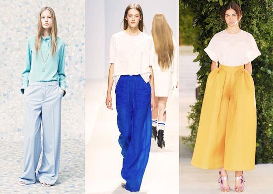 модные широкие брюки 2014 расширенные к низу