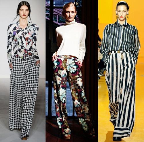 модные широкие брюки 2014 с блузой
