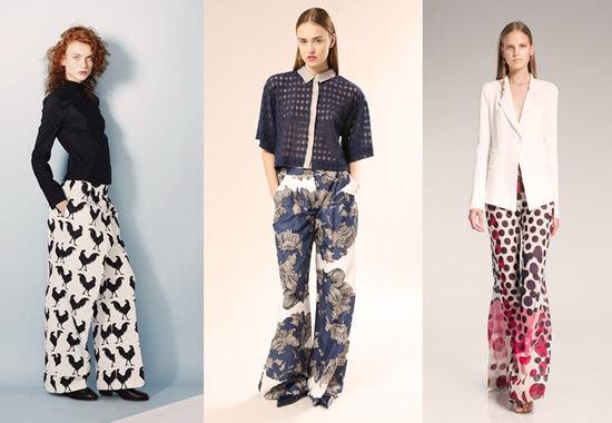 модные широкие брюки 2014 с принтом
