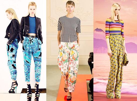 модные широкие брюки 2014 с узорами