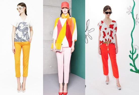 модные широкие брюки 2014 яркие укороченные