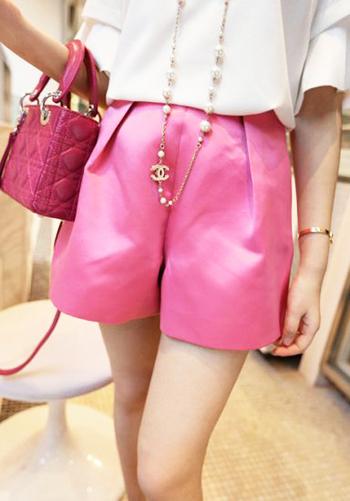модные шорты лето 2014 розовая пудра