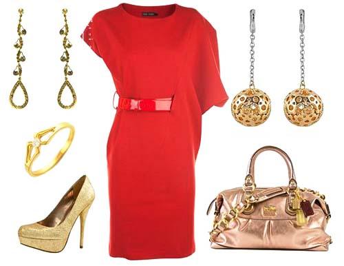 красное платье 2014 аксессуары