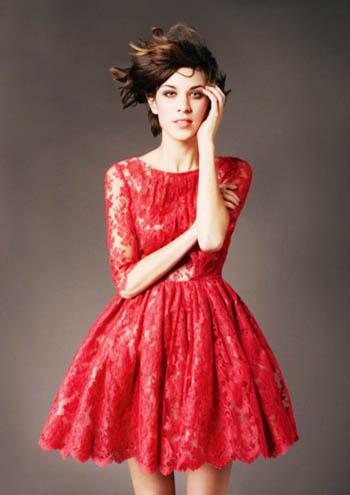 красное платье 2014 короткое нарядное