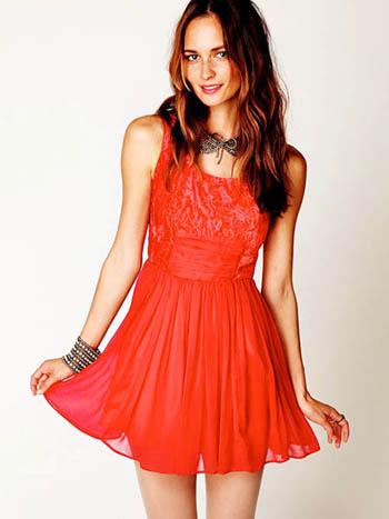 красное платье 2014 легкое