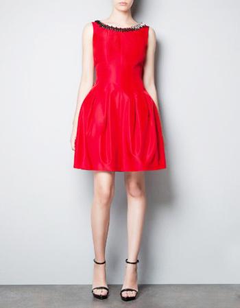 красное платье 2014 нарядное короткое