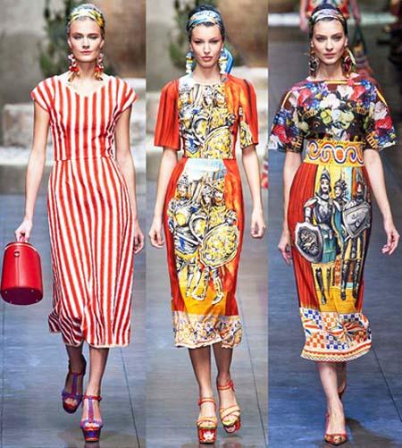 красное платье 2014 полоска и узор