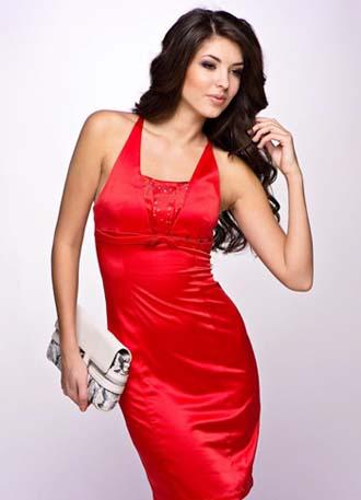 красное платье 2014 с белым клетчем