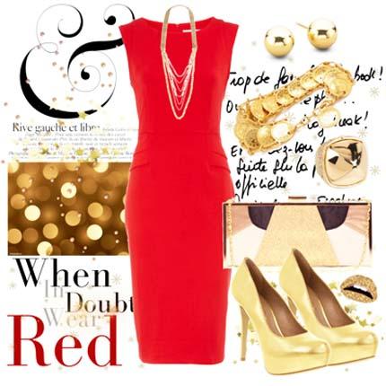красное платье 2014 с бижутерией золотого цвета