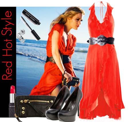 красное платье 2014 с черными аксессуарами