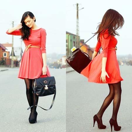 красное платье 2014 с черной сумкой