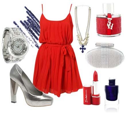 красное платье 2014 серебристые аксессуары