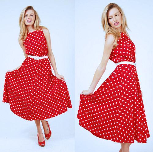красное платье 2014 в горошек