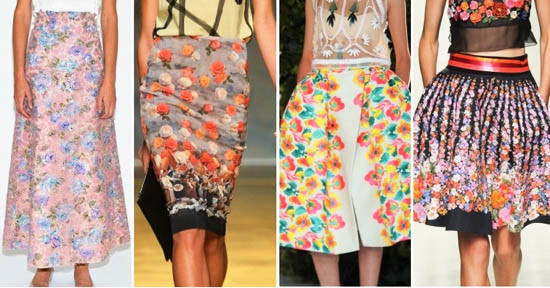 модные юбки лето 2014 в цветочек