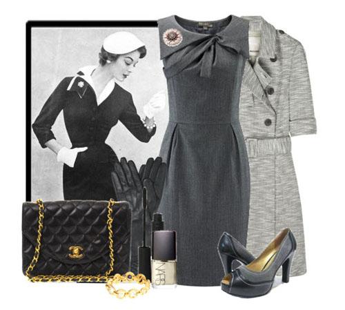 офисная одежда ретро платья