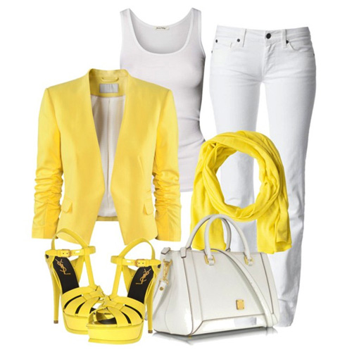 с чем носить желтый и белую майку