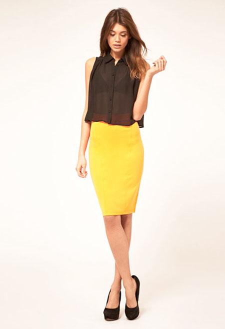 с чем носить желтый и черную блузу