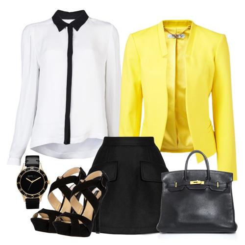 с чем носить желтый и черную юбку