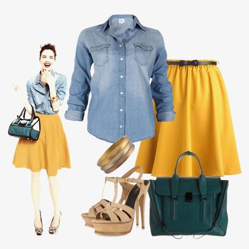 с чем носить желтый и джинсовую рубашку