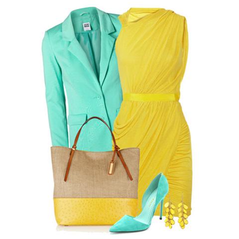 с чем носить желтый и голубой