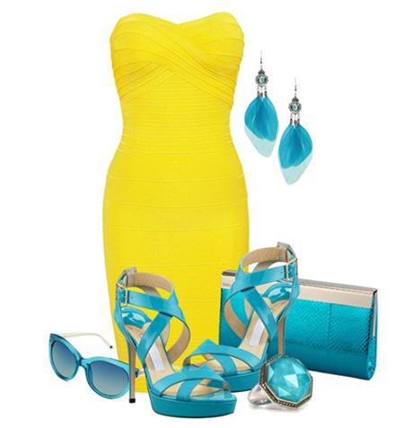 с чем носить желтый и голубую обувь