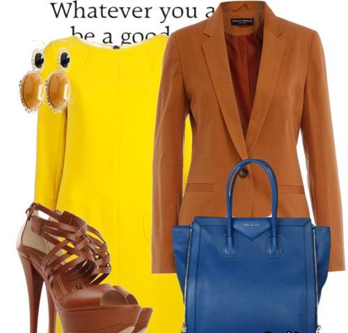с чем носить желтый и коричневый