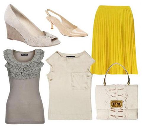 с чем носить желтый и серый