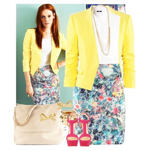 с чем носить желтый и юбку в цветочек