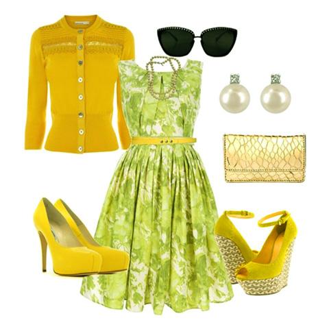 с чем носить желтый и зеленое платье
