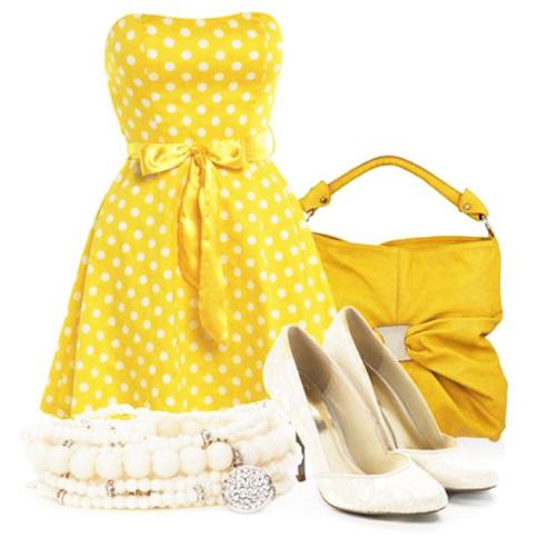 с чем носить желтый и жемчуг
