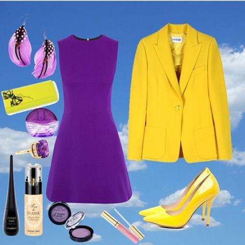 с чем носить желтый пиджак с фиолетовым