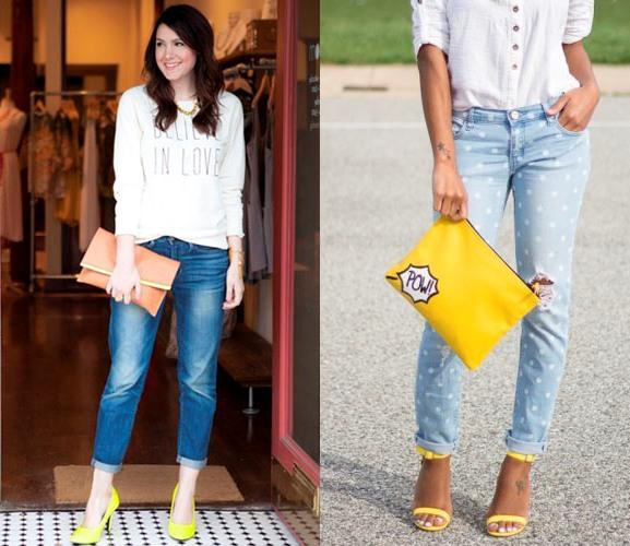 с чем носить желтый туфли с джинсами