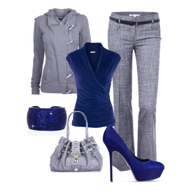 с чем носить синий и серый